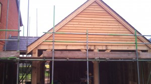 Larch cladding on gables